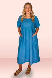 Natalie Blue Linen Dress