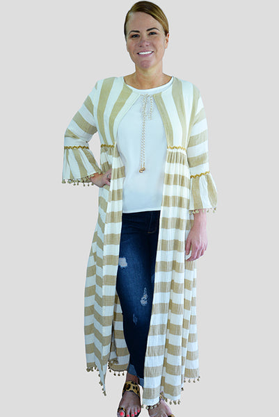 Full Length Natural Stripe Kimono