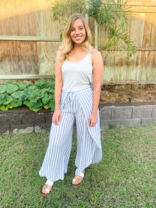Stripe Pants with Tie Front