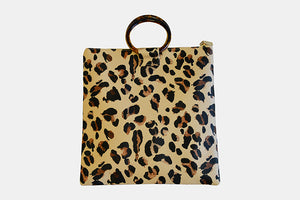 Leopard Print Bag With Round Resin Handles
