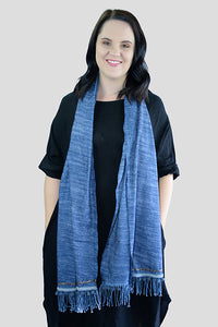 Dark Blue Mini Pom Pom Scarf