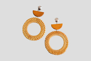 Metal, Wood & Rattan Statement Earrings - Tan