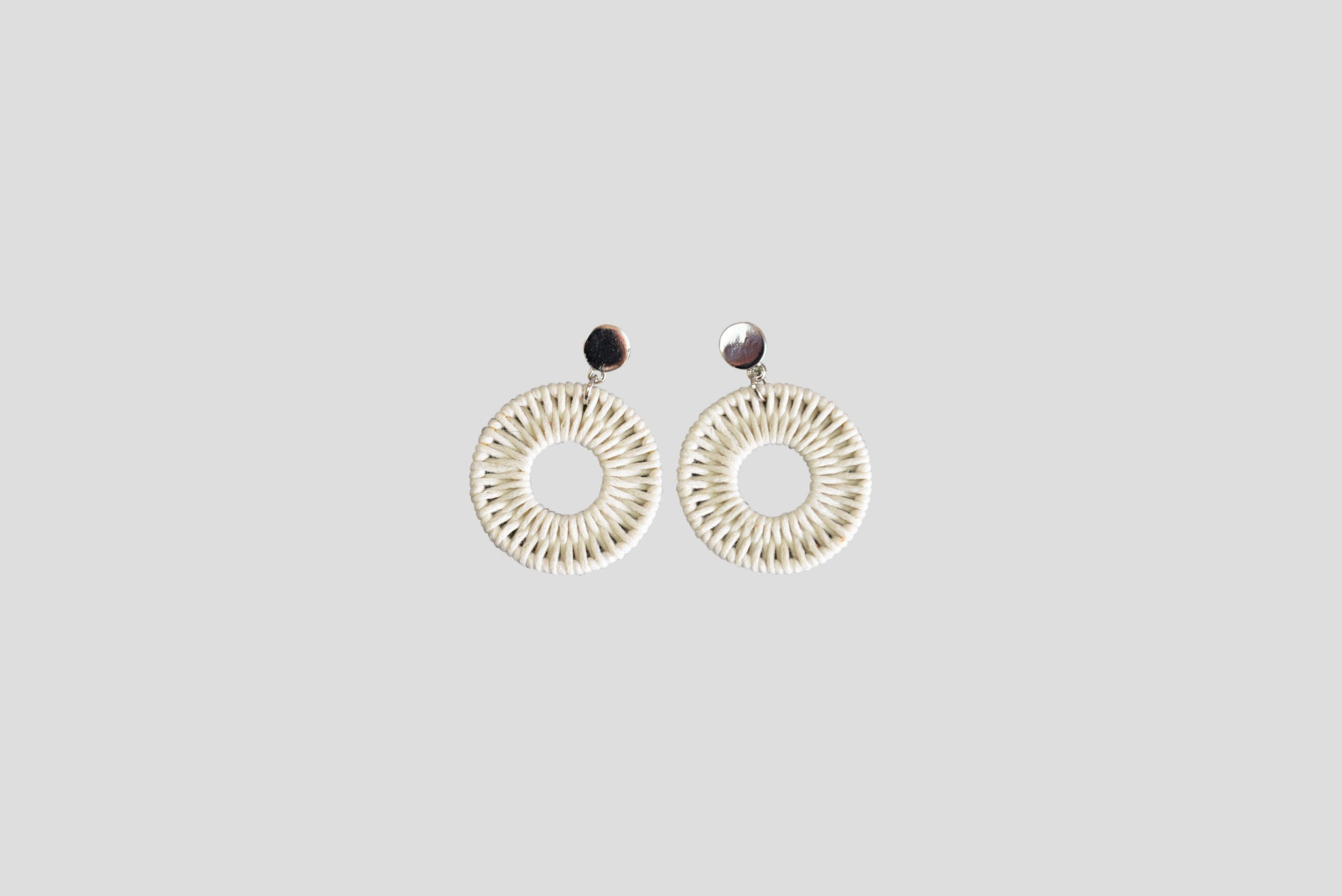 Silver and Rattan Earrings - White