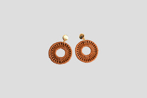 Gold and Rattan Earrings - Tan