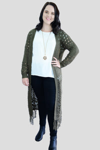 Olive Long Knitted Cardigan