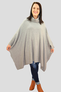 Roll Neck Knit Poncho - Mocha