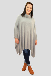 Roll Neck Knit Poncho - Grey