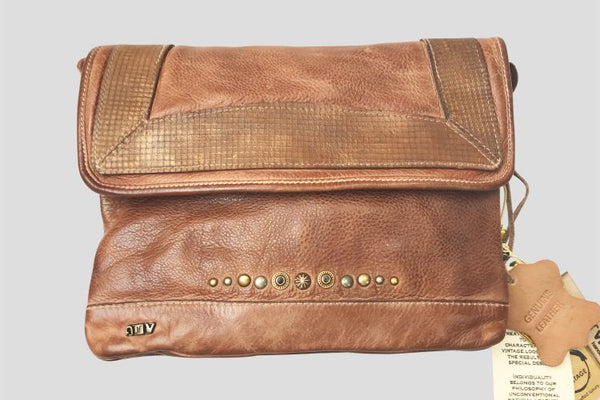 Tan Stud & Metallic Trim Leather Bag