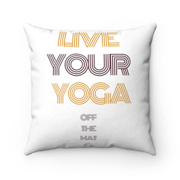 Live Your Yoga Square Pillow (Purple and Gold)