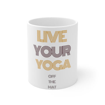 Live Your Yoga 11 oz Mug (purple and gold)
