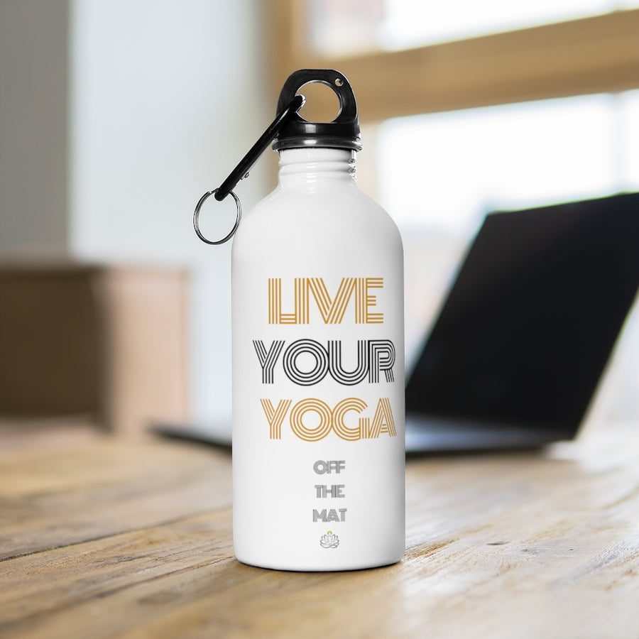 Live Your Yoga Stainless Steel Water Bottle (Black and Gold)
