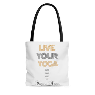 Live Your Yoga Tote  (gold and black)