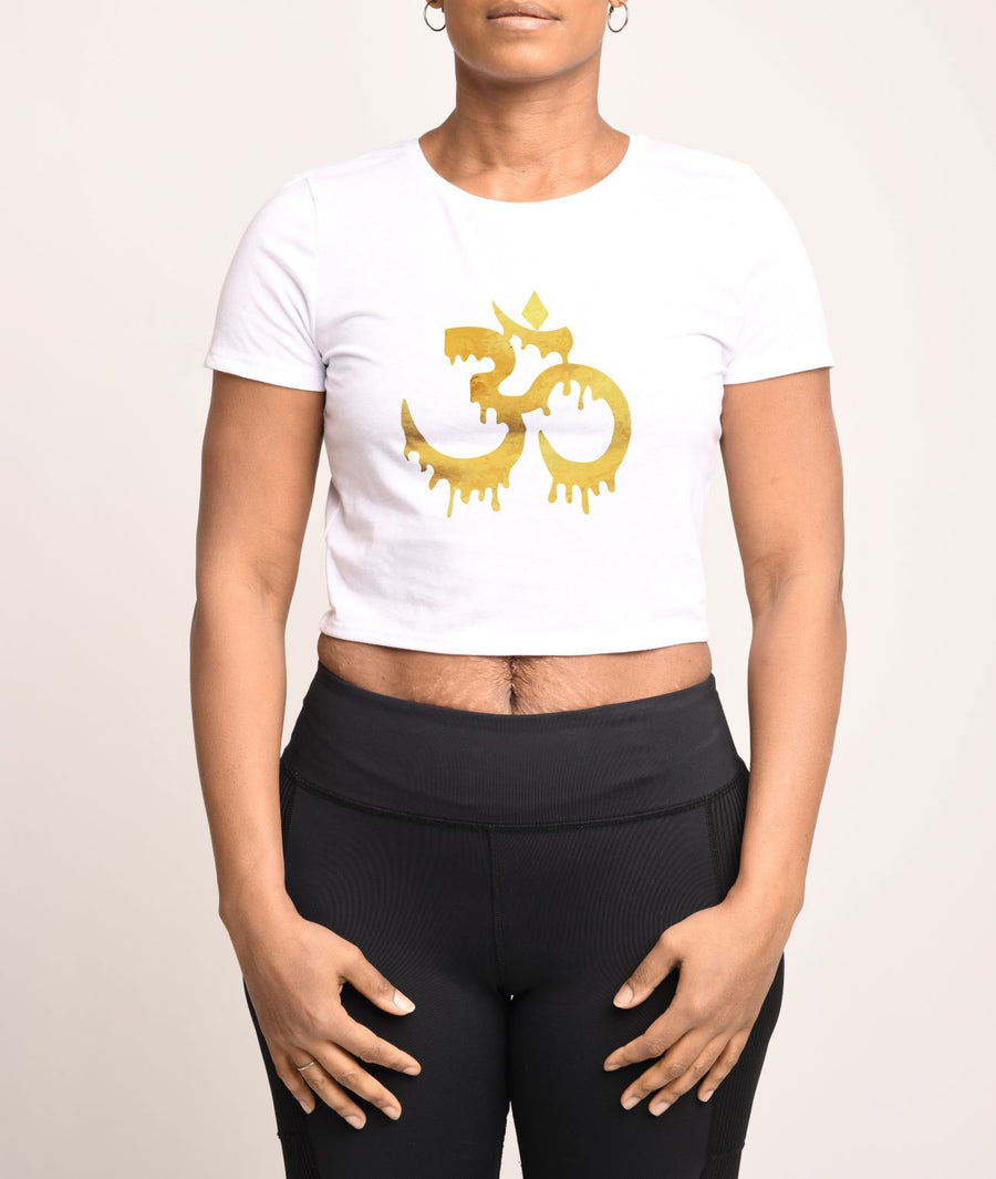 Golden Om Crop Tee