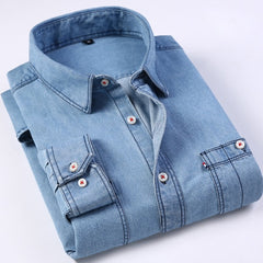 Mens Regular-fit Long-Sleeve Denim Work Shirt Two Button Front Chest Pockets & Pencil Slot Rugged Wear Thin Casual Cotton Shirts