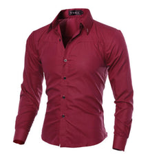 Mens Bottoming shirt  Long Sleeve Turndown collar Single-breasted Button Down Tops Slim Fit Casual Stylish Shirts