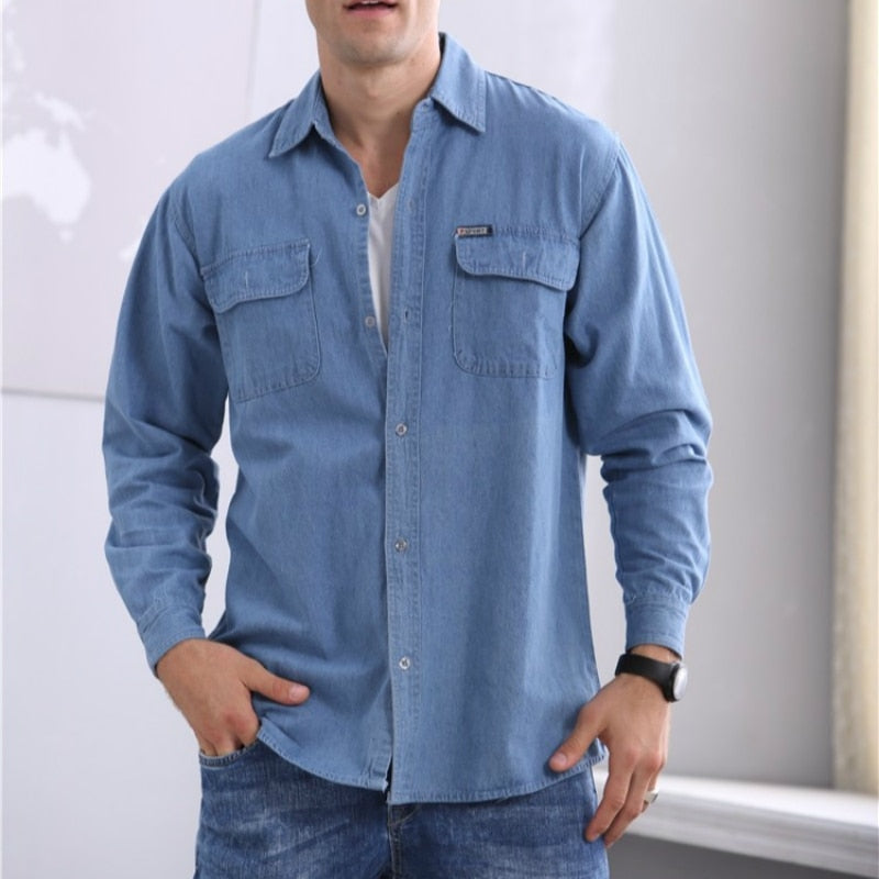 2019 new spring and autumn men's soil slim long-sleeved large size denim shirt men's long-sleeved thin coat
