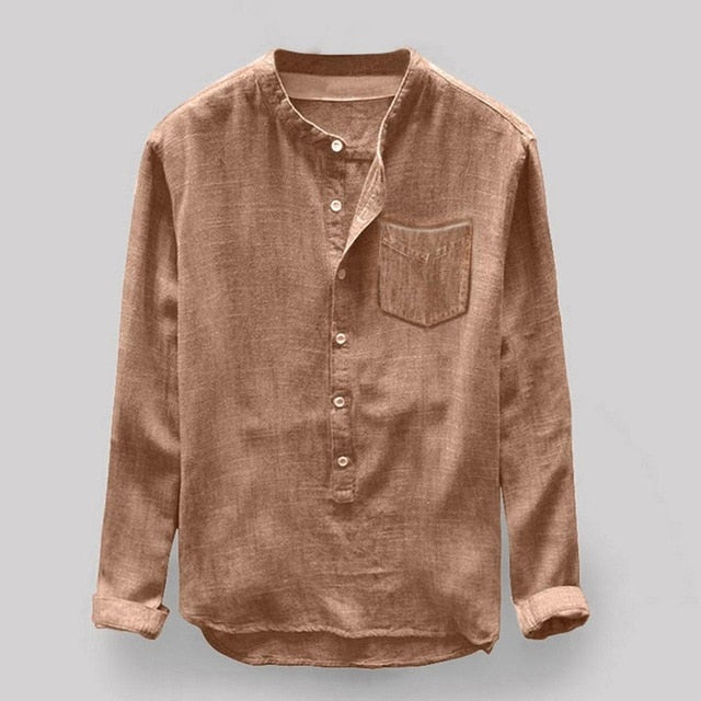 Autumn Casual Men Shirt Chemise Homme Cotton Linen Solid Color Long Sleeve Button Pocket Loose Shirt Blouse Tops Daily Clothes