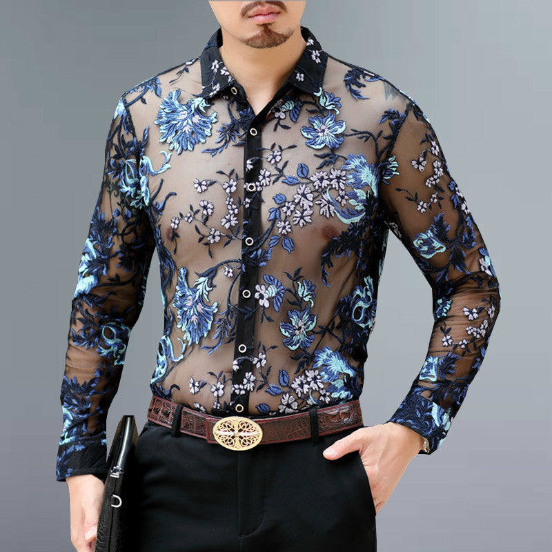 Luxury Transparent Shirt Men Embroidery Lace Club Party Shirt Long Sleeve Chemise Hommesexy See Through Mesh Shirt Men 4xl