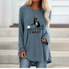 Women's autumn fashion T-shirt mid-length round neck printed long-sleeved loose shirt women
