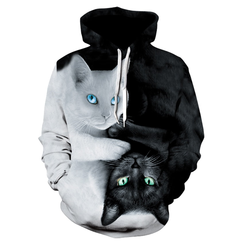 2019 brand autumn casual women's sports hoodie fashion men's and women's long-sleeved black and white cat hoodie sweatshirt