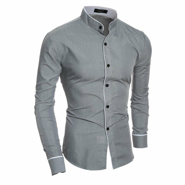 2020 Men's Luxury Casual Formal Shirt Long Sleeve Slim Fit Business Dress Shirts Tops Social Blouse Men Formal Blouse