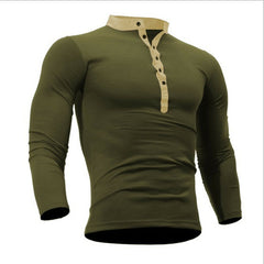Autumn Thin blouse 2019 Mens Slim Fit V Neck Long Sleeve Muscle Tee Shirt Casual Tops Henley Shirts solid color