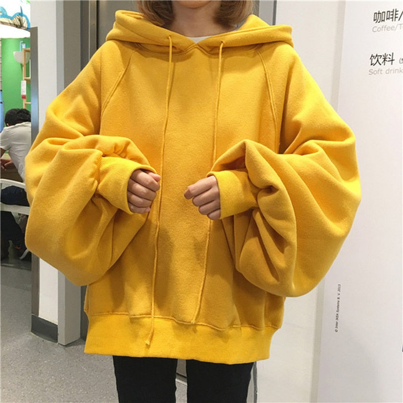 2019 Sweatshirt Women Fashion Students Hoodies O-neck Long-sleeved Yellow Black Hoodies Oversize Harajuku BF Loose Hoodies Tops