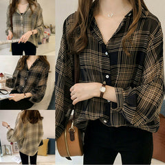 Women's Casual Check Shirts Summer Sunscreen Plaid Button Long Sleeve Baggy Shirt Ladies Blouse Tops and Blouses Plus Size M-4XL