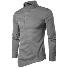 Men Shirt 2019 Spring Personality Oblique Button Irregular Shirt Men Hip Hop Casual Shirt New Long Sleeve Slim Fit Male Shirts