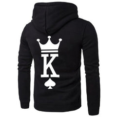 Fashion QUEEN KING Print Hooded Long Sleeve Couple Sweatshirt New Style Sexy Casual Letter Women Hoodies