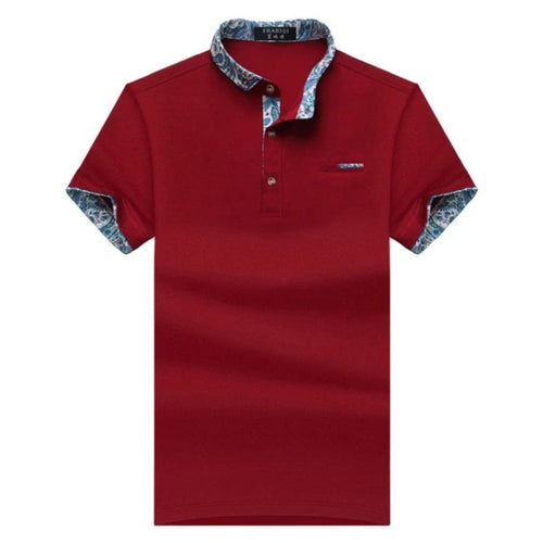 Solid Color Polo Shirt w/ Floral Trim