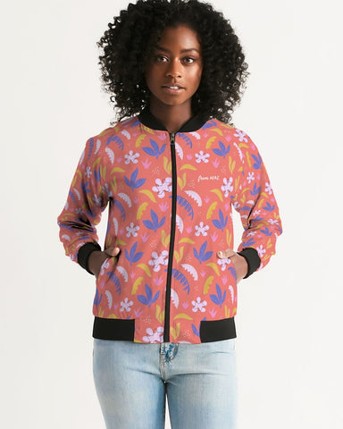 Red Jungle All-Over Print Women's Bomber Jacket