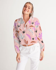 Pink Jungle All-Over Print Women's Cropped Windbreaker