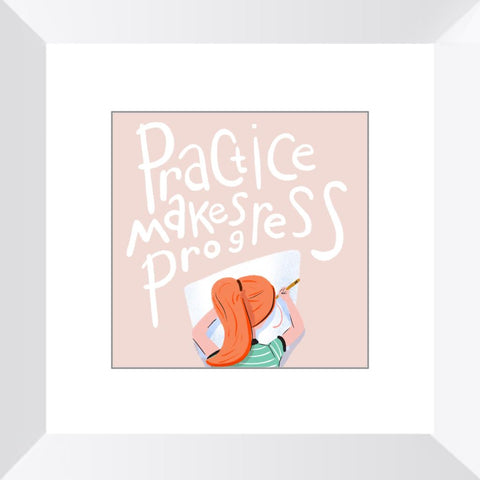 Practice Makes Progress Framed Print Framed Print Gooten White