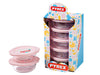 Lot de 7 plats ronds en verre avec couvercles roses 0,35L - My First Pyrex®