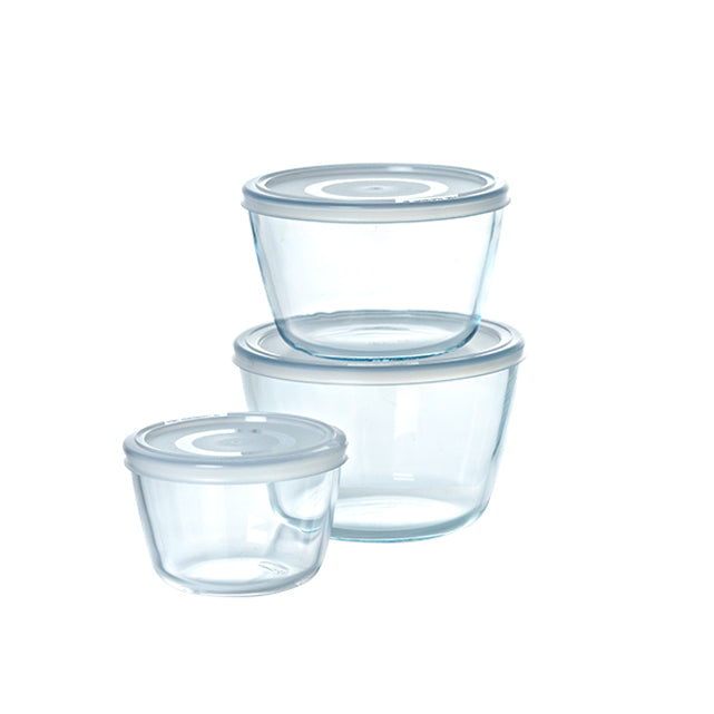 Lot de 3 plats de conservation en verre ronds avec couvercle - Cook & Freeze
