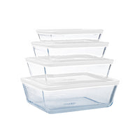 Lot de 4 plats de conservation en verre rectangulaires avec couvercle - Cook & Freeze