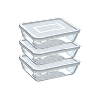 Lot de 3 plats de conservation en verre rectangulaires avec couvercle - Cook & Freeze