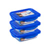 Lot de 3 Lunch Box rectangulaires en verre 20x15 cm avec couvercle - Cook & Go