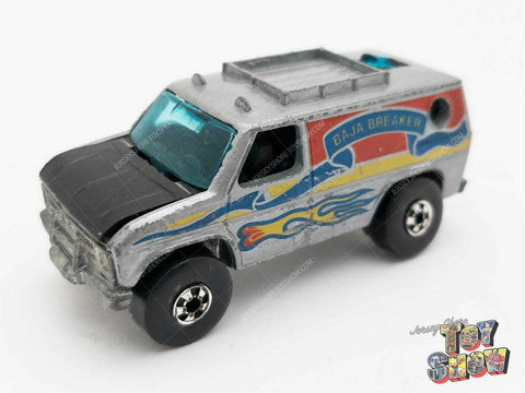 Vintage 1977 Mattel Hot Wheels Blackwall BW Baja Breaker van gray 2 rear windows