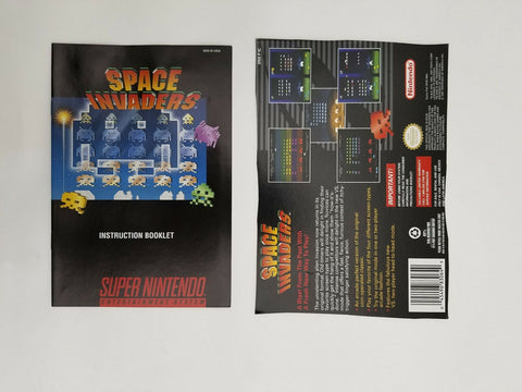 Super Nintendo SNES Space Invaders instruction manual / booklet