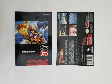 1996 Super Nintendo SNES Pinocchio instruction manual / booklet
