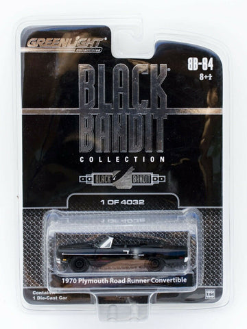 Greenlight Black Bandit 1970 Plymouth Road Runner Convertible 1:64 diecast car