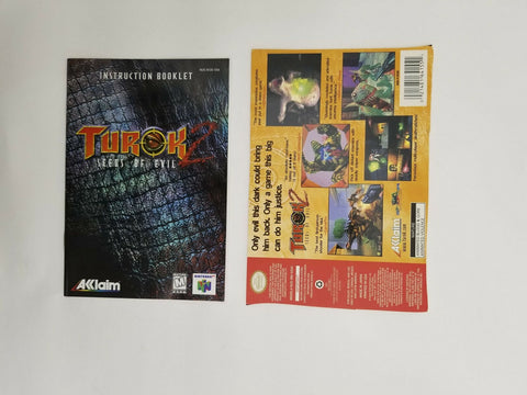 1998 Nintendo 64 N64 Turok 2 Seeds of Evil instruction manual / booklet