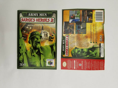 2000 Nintendo 64 N64 Army Men Sarge's Heroes 2 instruction manual / booklet