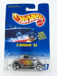 Vintage 1991 Mattel Hot Wheels #257 3-Window '34 New Paint Style MOC
