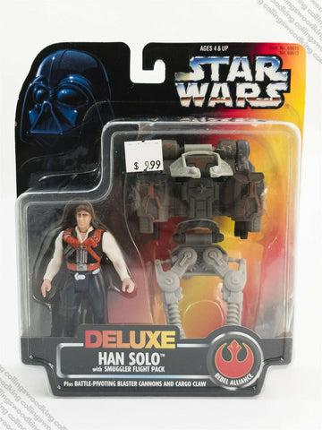 1996 Kenner Star Wars POTF2 Deluxe Han Solo Smuggler Flight pack action figure