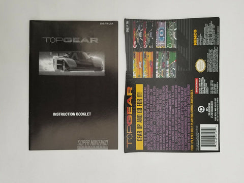 Super Nintendo SNES Top Gear instruction manual / booklet