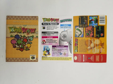 1998 Nintendo 64 N64 Yoshi's Story instruction manual / booklet & operation card
