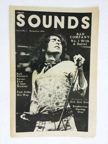 Vintage Jersey Sounds rock music newspaper #1 - November 1974 Bad Company
